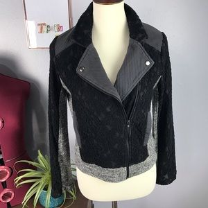 Miss Me | Knit & Lace Moto Jacket